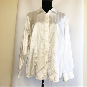 FoxCroft White Button Front Shirt Satin Look 14W
